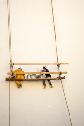 Craftsman;Kaleidos;Kaleidos-images;Lebanon;Man;Men;Middle-East;Near-East;Paint;Painters;Ropes;Scaffolding;Suspended-Scaffolding;Tarek-Charara;White